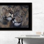 interior design artwork lion couple