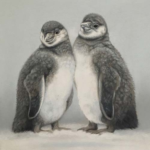 baby penguin pastel drawing painting, realistic artwork