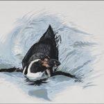 swimming penguin art drawing pastel painting