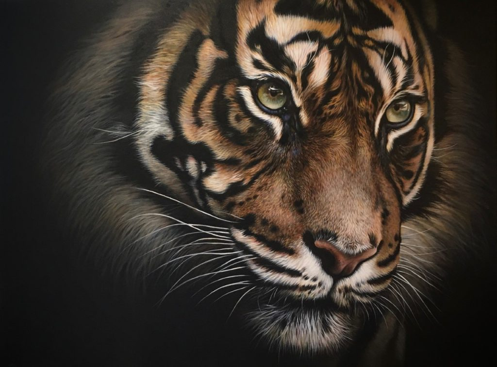 tiger acrylic painting with green eyes wildlife art by Julie Rhodes