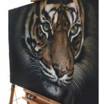 tiger realism art painting in the studio
